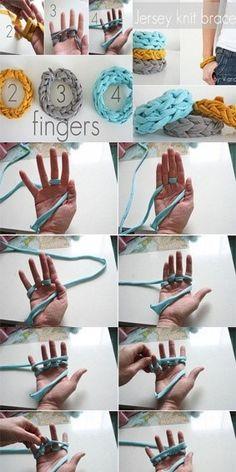 finger knitted bracelets