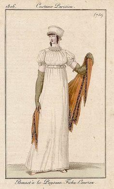 Overbodice chemisette and ruff, 1806 Costume parisien