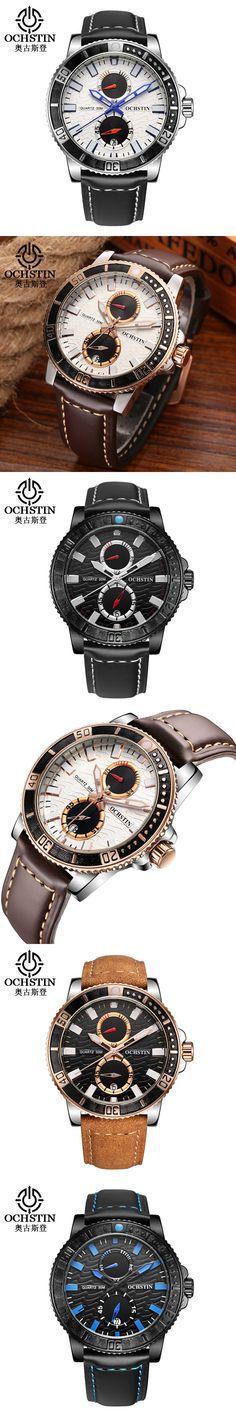OCHSTIN Casual Watch Men Luxury Brand Quartz Military Sport Chronograph Watches Genuine Leather Wristwatch Men relogio masculino