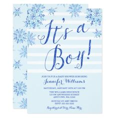 Winter Snowflake Stripes Boy Baby Shower Invites - invitations personalize custom special event invitation idea style party card cards