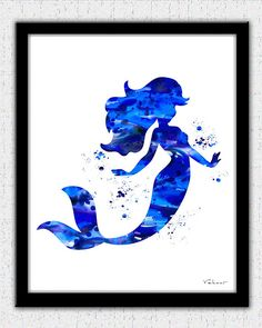 Blue Mermaid print Mermaid watercolor print Ariel print