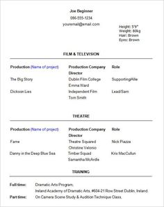 The Beginner Acting Resume Format  And Beyond  Ace Your