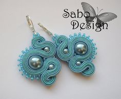 OLYMPIA  soutache earrings  handmade embroidered in by SaboDesign