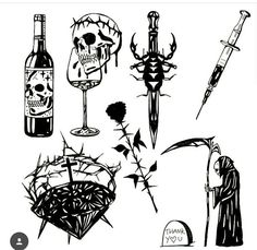 Emo Tattoos, Grunge Tattoo, Black Tattoos, Tattoos For Guys, Doodle Tattoo, Tattoo Drawings, Border Tattoo, Flash Drawing, Occult Tattoo