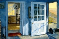 """MAINE ART SCENE MAGAZINE - Inside Edward Hopper's World: Paintings by Philip Koch. At Isalos Fine Art August 13 - September 2, 2013  (Stonington, ME) A former abstract painter, Philip Koch was inspired by the art of Edward Hopper to change to work in a realist direction. This exhibit entitled """"Voyeur"""" features paintings of the interior of Hopper's Cape Cod studio Koch made during his 14 residencies there. Artist reception at Isalos Fine Art on Friday, August 16 from 5:00 to 7:00 pm."""