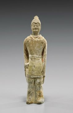"""HAN DYNASTY POTTERY SOLDIER Chinese Han Dynasty pottery figure; of a soldier standing at attention; with a quiver of arrows to his back; H: 11"""""""