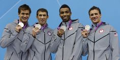 From left, USA's Nathan Adrian, Michael Phelps, Cullen Jones and Ryan Lochte pose with their Silver Medals for the Men's 4x100-meter Freestyle Relay at the  2012 Summer Olympics in London! (AP Photo/Michael Sohn)
