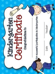 Kindergarten Certificate Template Free   Google Search