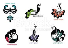 Peacock label royalty-free stock vector art Peacock Tattoo, Peacock Art, Peacock Design, Diy Wall Painting, Fabric Painting, Che Guevara Images, Peacock Vector, Floral Logo, Quilling Patterns