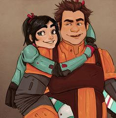 Outcasted by most of the other recruits Vanellope and Ralph found each other and found comfort and friendship. The two of them only wanted to be respected as competent… Ralph Disney, Disney Au, Disney Films, Disney Fan Art, Disney And Dreamworks, Disney Magic, Disney Pixar, Disney Characters, Drawing Cartoon Characters