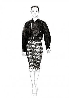 Fashion illustration - chic black & white fashion drawing for Odda Magazine // Ignasi Monreal