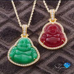 14k Yellow Gold 1.5ct Diamond Jade Buddha Pendant
