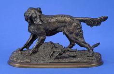 Moigniez, Jules 1835 Senlis - 1894 Saint-Martin-du-Tertre Chien de Chasse. Bronze. Signiert. H 20 — Skulpturen, Möbel, Kunsthandwerk