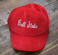 82bfdaac60e Vintage BALL STATE CARDINALS Corduroy Script SNAPBACK CAP baseball Hat-sewn-RARE  Snapback Cap