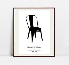 Marais A Chair Poster - Black and White Art Print - Original Art Print by…