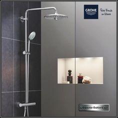 Sistem de dus Grohe Euphoria 260 cu termostat Cosmopolitan, Shower Panels, Rustic Bathrooms, Bathroom Interior Design, Shower Heads, Stores, Bathroom Inspiration, Bathroom Medicine Cabinet, Door Handles