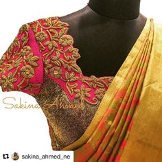 Pink, orange and gold! A perfect combo and a beautiful blouse design Stylish Blouse Design, Fancy Blouse Designs, Bridal Blouse Designs, Pattu Saree Blouse Designs, Maggam Work Designs, Baby Dress Patterns, Designer Blouse Patterns, Blouse Models, Work Blouse