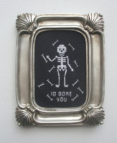 I'd Bone You Skeleton Completed Cross Stitch  by SewMysterious, $20.00