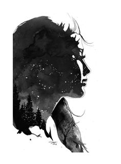 Star Gazing print from original watercolor por JessicaIllustration