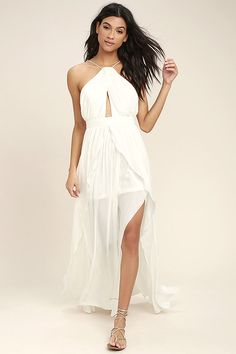 Lulus Exclusive! The On My Own White Maxi Dress is a party perfect look all by itself! Lightweight woven poly shapes a modified halter neckline with a front keyhole, and skinny straps that crisscross and tie at back. A banded waist tops a full maxi skirt with twin side slits and a ruffled overlay. Hidden back zipper/clasp.