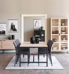 EVERETT Spisebord 100x220 H 75 cm i hvitpigmentert og lakkert eik med svart metall understell Decor, Furniture, Home, Dining, Dining Table, Table, Inspiration