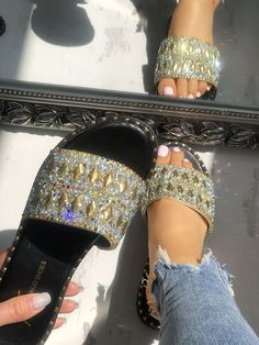 Shiny Sequins Rivets Embellished Sandals is part of Embellished sandals - Cute Sandals, Shoes Sandals, Shoes Sneakers, Flat Sandals, Embellished Sandals, Water Shoes, Swagg, Shoe Collection, Summer Shoes