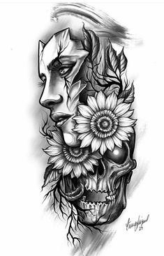 Sugar Skull Girl Tattoo, Girl Face Tattoo, Girl Tattoos, Leg Sleeve Tattoo, Tattoo Sleeve Designs, Tattoo Design Drawings, Tattoo Sketches, Tattoo Studio, Mother Mary Tattoos