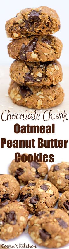 These Chocolate Chunk Oatmeal Peanut Butter Cookies are completely flourless, extremely chewy, thick and filled with melty chocolate chunks (plus a sprinkle of sea salt on top!)! #glutenfree #healthy #vegan #chocolate #peanutbutter #cookies