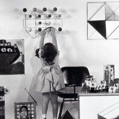 """Kids keep it tidy themselves with the Ray and Charles Eames designed """"Hang it all"""""""