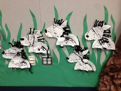 Zebra craft for preschool (or kindergarten). Plates were cut out, marble rolled and stapled. Kids then glued on nose, goggly eye and yarn for the mane and we stapled the ear and tail. The kiddos LOVED the zebra! #ashleysclass #missashley #mademadethis!