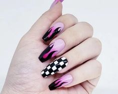 139 charming acrylic nail designs to copy right now – page 1 Punk Nails, Edgy Nails, Stylish Nails, Soft Grunge Nails, Tribal Nails, Hot Nails, Grunge Nail Art, Edgy Nail Art, Goth Nail Art