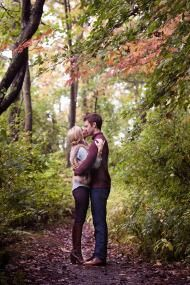 A beautiful autumn engagement photo shoot. We love the changing colors in this gorgeous photo.