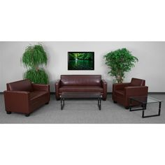 Shop Grand Series Brown Leather Polyester Wood Living Room Set with great price, The Classy Home Furniture has the best selection of to choose from Contemporary Bedroom Furniture, Colorful Furniture, Living Room Furniture, Home Furniture, Living Room Sets, Contemporary Style, Brown Leather, Wood, Table