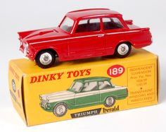 Lot 1926 - Dinky, 189 Triumph Herald saloon, rare issue, red body with silver lining, red spots applied each
