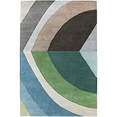 $350 Hand-tufted Rojan Blue/ Green Wool Rug (7'9 x 10'6)