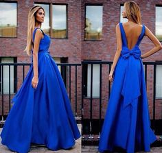 Love the Color! Love the Back with the Bow! Blue Bow Backless Sleeveless Fashion Maxi Dress - Maxi Dresses - Dresses