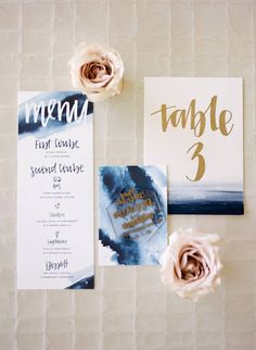 Wondering how to add a touch of glamour to your wedding day? Well, today we have the perfect (and easy) solution — Metallic Wedding Stationery. From start to finish, foil stamped paper goods can help you bring a hint of luxe to your I do's. Wedding Menu, Wedding Paper, Wedding Favours, Diy Wedding, Dream Wedding, Wedding Ideas, Wedding Dinner, Wedding Inspiration, Navy Wedding Invitations
