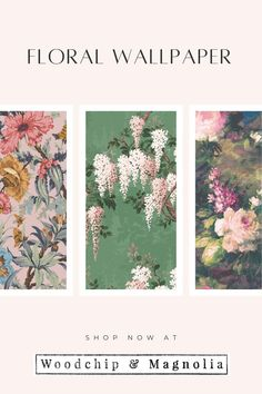 Add a splash of the outdoors to your walls with super pretty floral wallpaper. Floral Print Wallpaper, Floral Prints, Edwardian House, Statement Wall, Eclectic Design, Designer Wallpaper, Wall Murals, Magnolia, Pretty