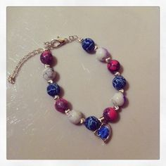 blue fimo, white with violet threads, round pink marble effect beads with silver plated spacer beads, and blue rhinestone heart charm Marble Effect, Pink Marble, Heart Charm, Silver Plate, Beaded Bracelets, Jewellery, Beads, Blue, Fimo