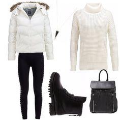 Un outfit pensato per una passeggiata allaria aperta in un giorno di sole invernale. Un abbinamento che viaggia sui contrasti: bianco e nero, comodità e femminilità , la purezza del bianco e il tocco rock dei leggins.