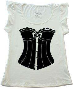Camiseta Corset manga tulipa G 100% algodão Estampa em silk screen (Favor  informar o tamanho na hora da compra) R 42 03e43ccdb7d9a