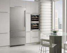 """Leibherr USA - 30"""", stainless steel, built-in refrigerator with two freezer drawers."""