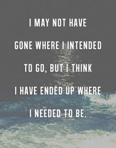 I may not have gone where I intended... (or where society wanted me to go!)