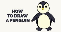 How to Draw a PenguinIn this really easy drawing tutorial you will learn to draw a simple Penguin.Penguins are birds that use use their wings to swim through th Penguin Drawing Easy, Penguin Sketch, Easy Drawings For Kids, Drawing For Kids, Cool Drawings, Drawing Ideas, Sketch Ideas, Beautiful Drawings, Penguin Coloring Pages