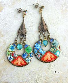 Portugal Antique Azulejo Tile Replica Earrings Dove by Atrio