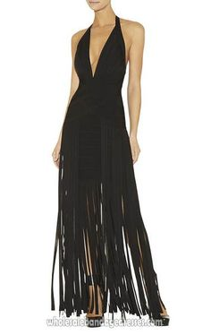 Black Herve Leger Long Bandage Dresses Halter V Neck Fringe Dress,sale cheap from China, accept retail and wholesale, fast shipping worldwide
