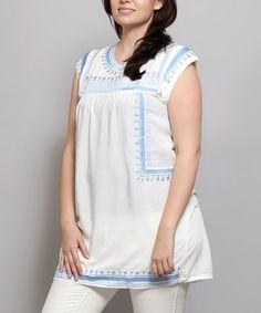White & Blue Sleeveless Tunic - Plus #zulily #zulilyfinds