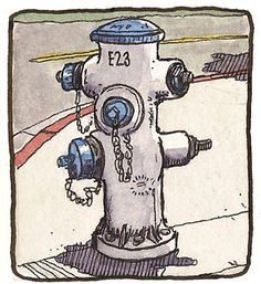 This image of a fire hydrant uses marker to show subtle colour and shadow changes through the use of blending