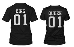 King 01 and Queen 01 Back Print Couple Matching Shirts Valentine's Day