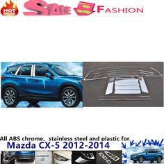 96.39$  Buy here - http://alicyw.worldwells.pw/go.php?t=32699124718 - Mazda CX-5 CX5 2012 2013 2014 stick stainless steel body glass window garnish pillar middle column strip trim panel 18pcs